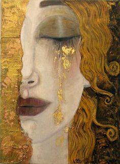 """""""Larmes d'or"""" d'Anne-Marie Zilberman. Sa technique mixte mélange et superpose peintures à l'huile et acrylique, tissus, papiers, feuilles d'or, végétaux, donnant à ses toiles une profondeur, un relief et une luminosité remarquables. Certainement très influencée par Gustav Klimt."""