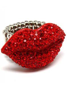 RED TONE CRYSTAL LIPS KISS LADIES FASHION STRETCH RING - Party Season