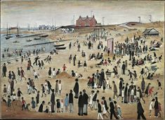 July, the Seaside by Laurence Stephen Lowry Salford, Seaside Art, British Seaside, English Artists, British Artists, Art Uk, Naive Art, Art For Art Sake, Beach Scenes
