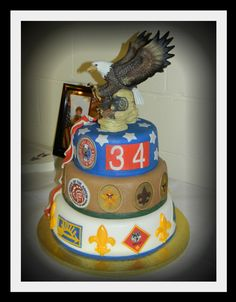 Eagle scout cake -personalize with troop number and Scout's ranks on his own trail...