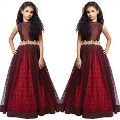 Maroon Hand Worked Rasal Net Gown For Kids  Price : 2200 INR Only! #Booknow  World Wide Shipping Available ! ✈ PayPal / WU Accepted  Cash on delivery available in India  Stitching Service Available  To order / enquiry  Contact On WhatsApp / DM : +91 9054562754  #indianwear #ethnicwear #fashion #style #bollywood #bollywoodstyle #me #love #follow #couture #clothes #outfits #ootd #designer #usa #uk #canada #india #pakistanistyle #bridal #wedding #swag #sareeswag #ethnicwi..