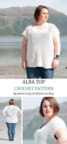 Alba top Crochet pattern on Etsy. Crochet top off shoulder. Crochet Top Beach. Crochet top bohemian. Crochet top shirt. #crochetpattern #crochettop #crochetforher #topcrochet #crochettoppattern #etsy