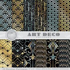 ART DECO motifs 12 x 12 papier numérique Pack par MNINEDESIGNS