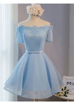 Elegant Off The Shoulder Lace Satin Short Prom Dresses, Baby Blue Prom Dress…