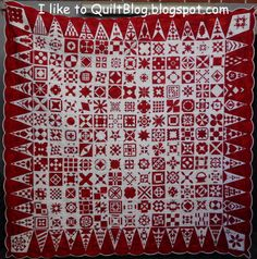 Dear Jane, red and white, by Bente in Germany, at Iliketoquiltblog....love the red & white!