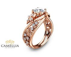 Butterfly Design Moissanite Engagement Ring 14K by CamelliaJewelry