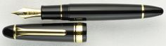 King of Pen Black Resin with Gold Trim. The King of Pen is Sailor's largest size pen. Comparable in size and feel to the Montblanc 149 or Pelikan M1000, this is a pen that fits comfortably in larger hands. Available with 21k nibs in Medium or Broad, and also with Sailor Specialty Nibs such as the Naginata Togi, Cross Point, and King Eagle, these pens combine time-honored craftsmanship with the extraordinary value associated with the Sailor brand. Our price $740 with standard nib.