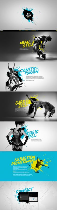 IN'PULSE studio on Behance #snevi #website #site #web #artdirection #onepagesite #sebastienmontagne #inpulsestudio #dance #danse #dancestudio #contemporain #jazz #cardio #cardiojazz #musichall #newstyle #artwork