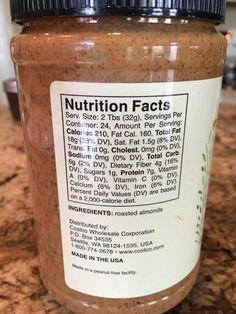 Almond Butter:   ________________________________   1 Tbsp Almond Butter = 105 Calories, 9 Fat, 3 Carb, 3.5 Protein  ________________________________  ________________________________  2 Tbsp Almond Butter = 210 Calories, 18 Fat, 6 Carb, 7 Protein Almond Butter, Candle Jars, Protein, Fiber, Fat, Nutrition, Candle Mason Jars, Meals
