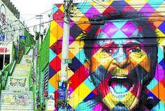 Eduardo Kobra, mural em homenagem ao Tom Zé. São Paulo, Brasil