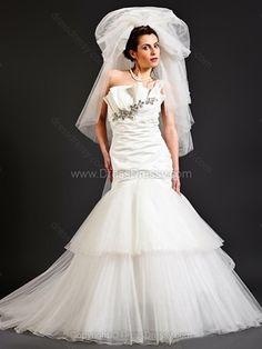 Trumpet/Mermaid One Shoulder Tulle Satin Sweep Train Tiered Wedding Dresses -$284.39