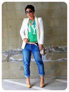 That casual look, love it! Mimi G is always bringing it! OOTD: Winter White Zara Blazer Boyfriend Jeans