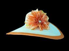 "Kentucky Derby Hat, Sun Hat, Summer Hat, Easter Hat, Beach, Garden, Tea Party Hat in Orange, Ivory White, and Gold -  ""ORANGE DELIGHT"". $48.00, via Etsy. Tea Hats, Tea Party Hats, Hats For Women, Ladies Hats, Derby Day, Summer Hats, Ivory White, Headgear, Kentucky Derby"