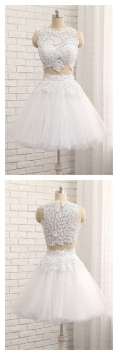 Two Pieces White Tulle Homecoming Dresses with Lace(ED2423) Pretty Dresses, Beautiful Dresses, Backless Homecoming Dresses, Prom Dresses With Pockets, Evening Dresses, Formal Dresses, Court Dresses, Cocktail Gowns, Applique Dress