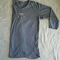 Victoria's Secret 3/4Sleeve Sleep Tee S/M Excellent used condition, VS gray with cute Pink embroidered heart in the center sleep tee in size S/M. 100% cotton. Flat lay measurements are 29' length / 22' width /  16' sleeve length. Please let me know if you have any additional questions. No lowballs! No trades! Victoria's Secret Intimates & Sleepwear Pajamas