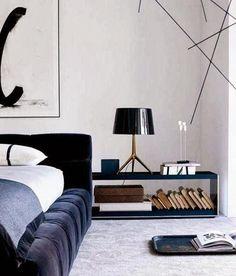 Bedroom. Plush. Velvet Bed Frame. Dark. Colour. Decor. Masculine. Concrete. Interior Design.