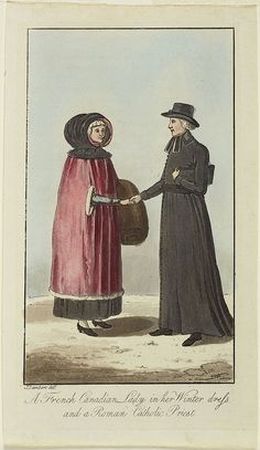 A French Canadian Lady in her Winter Dress and a Roman Catholic Priest / Une dame canadienne française en habit d'hiver et un prêtre catholique by BiblioArchives / LibraryArchives, via Flickr