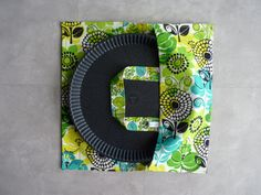 Sac à tarte tout coton grosses fleurs bleu/vert/noir.