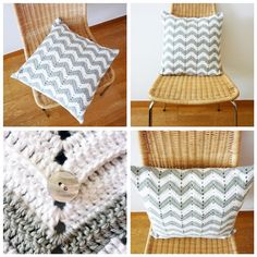Another patterns that I'm fairly certain I can replicate.  Chevron Pattern Crochet Pillow Gray White ($40.00) - Svpply