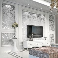 Cheap Silver Wallpaper, Buy Quality Wallpaper For Walls Directly From China  Luxury Damask Suppliers: Luxury Damask Gold Silver Wallpaper For Walls 3 D  ...