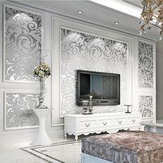 Vliestapete-3D-Optik-Vlies-Wand-Tapete-Barock-Rolle-Wandtapete-Dekoration-Silber
