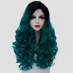 Fashion Black Turquoise Ombre Synthetic Trendy 60CM Long Fluffy Curly Cosplay Wig For Women