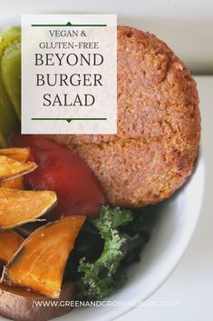 If you're looking for a healthy vegan salad recipe, you're going to love this homemade Beyond Burger salad! Click through for a delicious, high-protein, gluten-free, plant-based salad recipe and tips on how to cook the Beyond Burger! If you're looking for more vegan food and vegan lifestyle tips, check out Green and Growing Blog for beginner vegan tips and recipes. #easyveganrecipes #healthyveganrecipes #lunchrecipes #veganlunch #saladrecipe