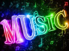 Palabra colorida música en el fondo del arco iris de la música y símbolos musicales