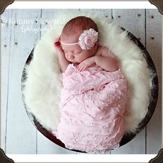 baby pink ruffle wrap with matching headband