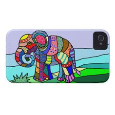 Colorful Vibrant Folk Art Abstract Flower Elephant Case-Mate iPhone 4 Case