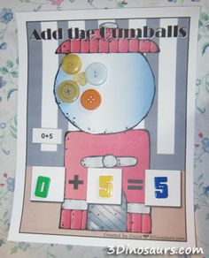 Using Hands On Math..I would enlarge this to a poster size and do this together as a class. Asking each child to come up and add or take away a bubble gum button!