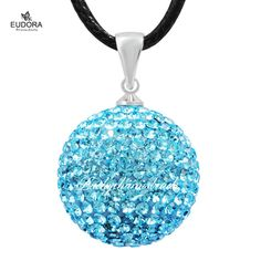 45'' Wax Leather Necklace Angel Caller Zircon 20mm Baby Blue Bell Crystal Pendant Chime Ball Sounds HB09