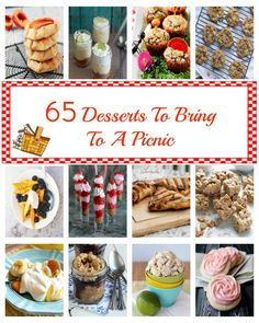 65 Desserts To Bring To a Picnic - all the best dessert recipes for summer parties, picnics, and barbecues! | cupcakesandkalechips.com | #ro...