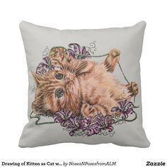 Drawing of Kitten as Cat with Yarn on Pillow