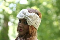 Knitted Bow Headband Oversized Bow Ear Warmer Wide Headband Winter Headband Ivory Shimmer or Color of Your Choice on Etsy, $25.95