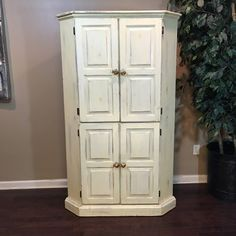 This cutie can be used as a TV stand, Pantr. Corner Tv Shelves, Tv Shelf, Homemade Furniture, Living Room Cabinets, Distressed Painting, Repurposing, Real Wood, Free Delivery, Tall Cabinet Storage
