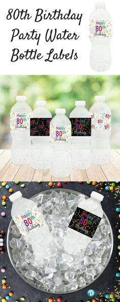"Decorate your water bottles with this set of 20 waterproof, pre-cut, self-adhesive, water bottle labels that each measure 8"" x 2"". #80thbirthday #birthdayparty  #birthdaystickers #80th #blackandgoldbirthday"
