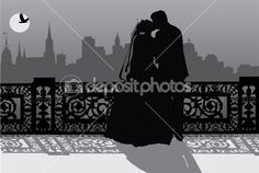 Couple in night city — Stock Vector #6329471
