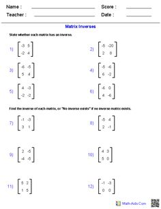Worksheet Matrices Worksheet matrices worksheets algebra 2 math aids com these generators allow you to produce unlimited numbers of dynamically created worksheets