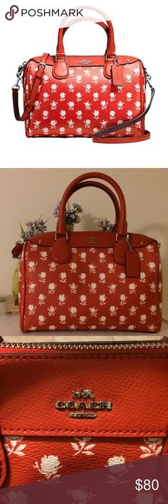 👜Coach Bennet Mini Satchel 👜 Coach Red with white flowers. Bennet Mini Satchel. New, never used. Comes with clip on strap! Smoke Free Coach Bags Mini Bags