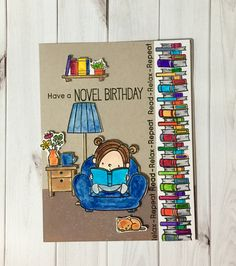 Mft stamps have a novel birthday! Books books and more books. Library Cards, Lawn Fawn Stamps, Book Drawing, Bday Cards, Card Book, Mft Stamps, Cricut Cards, Handmade Birthday Cards, Book Reader