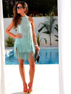 LOVE this fringe dress Sexy Outfits, Pretty Outfits, Beautiful Outfits, Cute Outfits, Summer Outfits, Big Fashion, Party Fashion, Fashion Looks, Fashion Clothes