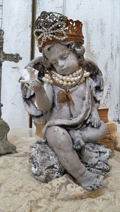 Angel cherub statue with crown shabby chic jewelry adorned figure French inspired home decor anita spero Shabby Chic Homes, Shabby Chic Style, Shabby Chic Decor, Colored Glass Vases, Shabby Chic Jewelry, Inspired Homes, Shabby Chic Furniture, Cottage Chic, Vintage
