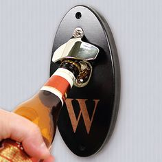 Monogrammed Pop Top Wall Mounted Bottle Opener, groomsmen gift, Father's Day, Mens, Birthday, Football, home bar, man cave, cap catcher