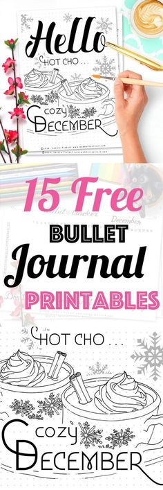 15 Free Printable Pages For Your Bullet Journal SetUp December 2016. Including Habit Tracker, December Memories, Monthly Log and many more beautiful pages.