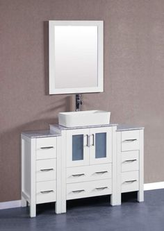 """View the Bosconi AW124RCCM2S White Contemporary 48"""" Free Standing Vanity Set…"""