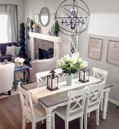 lovely farmhouse dining room table design ideas (start your mission! French Country Dining Room, Farmhouse Dining Room Table, Modern French Country, Dining Room Table Decor, French Country Kitchens, French Country Decorating, Living Room Decor, Country Living, Nook Table