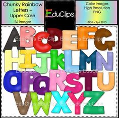 "Awesome FREE clip art ""Chunky Rainbow Letters""  They come in black line, too!"