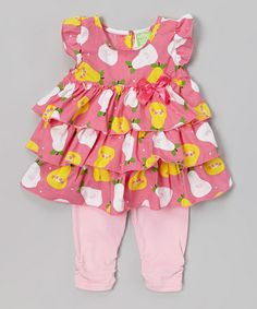 Pink Pear Tiered Tunic  Leggings - Toddler #zulily #zulilyfinds