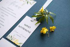 yellow wedding, menu, zaproszenie ślubne żółte kwiaty, miodunka papeteria, żółte dodatki na slub Wedding Stationery, Place Cards, Place Card Holders, Wedding Invitations, Wedding Invitation